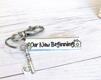 New Home Keychain - First Home Gift - Housewarming Gift - New Home Gift - Moving Gift