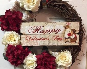 Valentines Wreath | Valentines Day Decor |  Holiday Wreath | Hydrangea Wreath | Winter Wreath