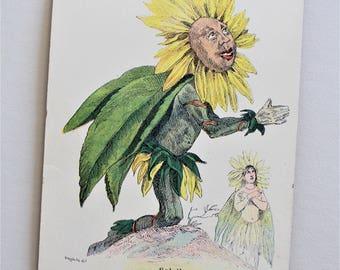Vintage Flower Postcard - Les Fleurs Animees Grandville Flowers - Victorian Botanical Print - Anthropomorphic Fantasy