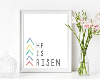 He is Risen Easter Printable Wall Art 8x10, 5x7, 11x14, Easter Digital Print, Easter Sign, Spring Printable, Spring Print, Easter Scripture