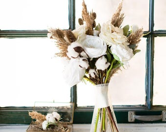 Ivory Bouquet and Boutonniere  Set - faux flowers with dried natural elements, roses, cotton tufts, pampas grass
