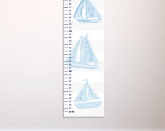 Sailboat Growth Chart, Personalized Growth Chart, Nautical Nursery, Nautical Growth Ruler, Baby Boy Gift, Canvas Growth Chart, Sailboats