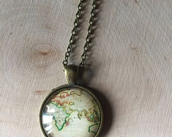 charming vintage map pendant necklace, gift for her