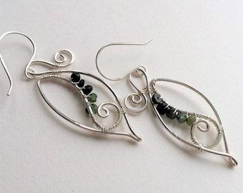 Sterling Silver Leaf Earrings,Hoop earrings, Long Dangle Earrings,Teardrop Hoop, Nature Inspired, Modern Earrings, Boho, Gemstone, Spiral.