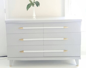 Sold#Mid Century Modern dresser,  vintage dresser gray, white and gold, painted furniture nj nyc, Hollywood Regency style,