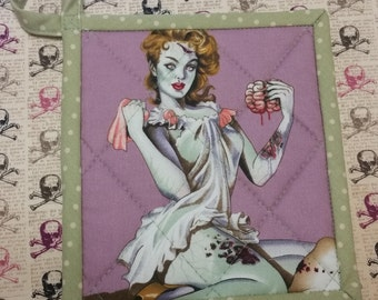 Zombie pinup sweetheart potholder- purple