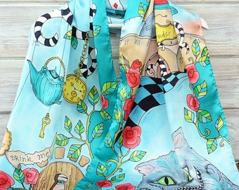 Hand-painted exclusive silk satin Alice in Wonderland one-of-a-kind turqiouse gold summer scarf gift idea shawl 35x35 woman clothing present