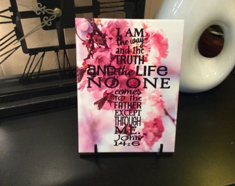 "I am the way and the truth and the life no one comes to the father except through me. John 14:6, 6"" x 8"" Ceramic Tile, Home Decor"