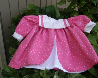 Girl Pink-White PolkaDotDress,EasterOutfitGirls,EasterDress Toddler,Spring-Summer Dress,Toddler1,Toddler2,Toddler3,Toddler4, 2T Girl Clothes