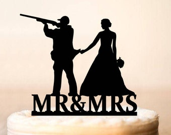 HUNTER Wedding Cake Topper, Wedding Cake Topper with guns, Wedding Cake Topper, Gunsters Wedding, Silhouette Topper,Our Hunt is Over (0205)