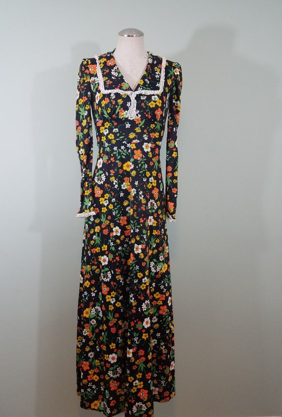 Vintage Fall Floral Maxi Dress / 1970s Prairie Dress / Black, Green, Yellow, Orange, and White Flowers / Modern Size Extra Small XS