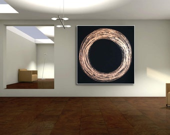 Abstract Circle XXL Black &  copper  large contemporary art handpainted heavy texture modern canvas acrylics painting