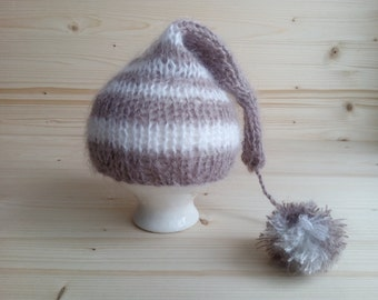 Mohair Newborn Hat, Newborn Pom Pom Hat, Newborn Photo Props, Knit Newborn Hat, Newborn Boy Hat, Newborn Girl Hat, Knit Baby Hat, Newborn