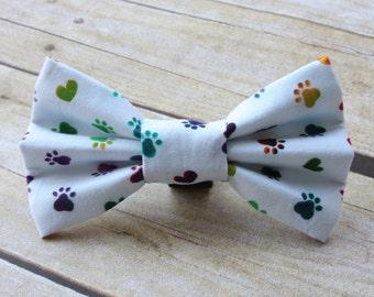 White Rainbow Tie Dye Paw Print Dog Bow Tie