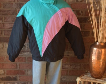 OVERSIZED COLOR BLOCK Ski Jacket Gerry Ski Jacket Down Jacket Puffy Jacket 80s Jacket