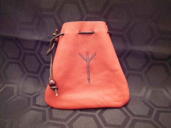 Embroidered Ox-blood Red Leather Drawstring Pouch Bag - Symbol of Protection