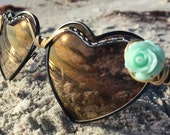 HEARTS w/mint flower accent <> SPUNGLASSES <> Wire Wrap Sunglasses Eyewear  <> Every Pair is a piece of Art FREE Shipping