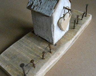 Driftwood Art, Reclaimed Wooden House, Recycled, House Ornament, Coastal Art, Rustic, House Warming, Heart