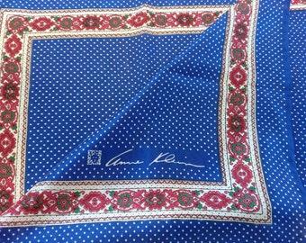 ANNE KLEIN 100 % silk scarf in polka-dot and floral design in purple pink, blue, white - designer, original, genuine