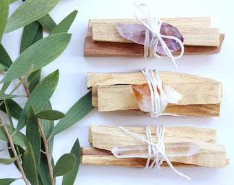 Smudge Kit - Palo Santo & Raw Crystal / Choose from Citrine, Amethyst OR Lemurian Seed Healing Crystals / Meditation, Natural Incense