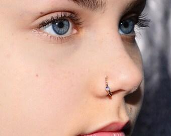 Purple Opal NOSE RING STUD / Gold nose hoop, cartilage hoop, helix ring, tragus jewelry, septum ring, rook piercing, nose piercing 16 gauge