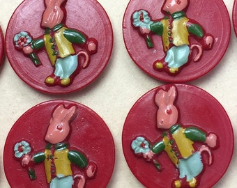 24 Red Vintage Rabbit Proffering Flowers 2cm Buttons on Original Card