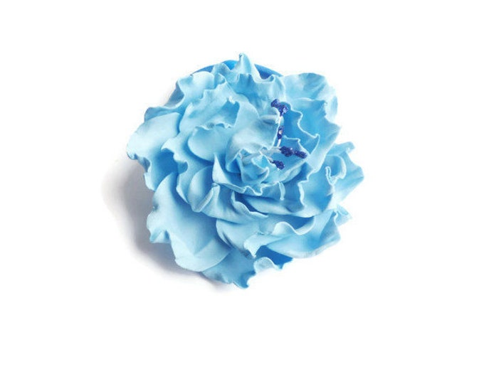 Scrunchy Blue Flowers Heavenly Rose Flower barrette Gently blue Hair Ties Flower Pin Prom Wedding Mom Event Flowers Big rose handmade Bridal