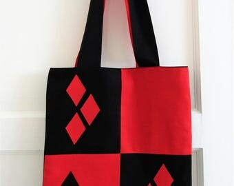 Harley Quinn Handmade Lined Batman The Animated Series Costume Tote Bag - DC - Comic Bag / Shopping Bag