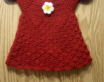 Rusty red newborn baby crochet dress