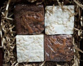 Brownies and White Chocolate Crispy Bars, Hazelnut Brownies, Valentines Day Gift, Gift Box, Gift Set