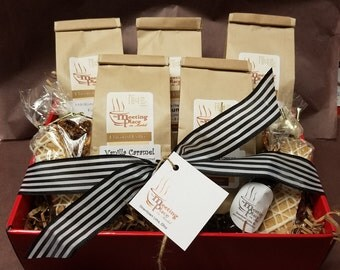 Premium Coffee Gift Basket Christmas Gift, Biscotti, Coffee Gift Set, Birthday Gift, Thank You Gift, with Espresso, Flavored Coffee