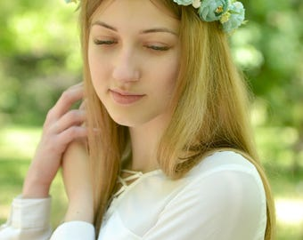 Flower girl headband Mint floral crown bridal Mint head wreath flowers wedding accessories hair floral crown