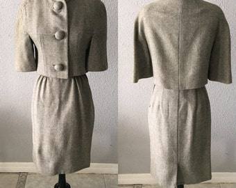 1960's Wool Suit With Fur Collar Jackie Kennedy Mid Century Modern Mad Men Wool Suit by Dalemoor by the Makers of Moordale