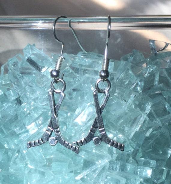Hockey Antique Silver Enameled Earrings
