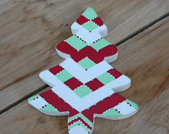 Wooden Tree, Christmas Tree, Small Tree, Red, Green, Geometric tree, Plaid decor, Retro decor, Retro Christmas, Retro tree, Mint, Handmade
