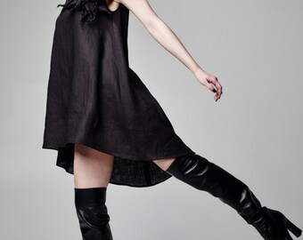 Plus Size Linen Dress, Black Gothic Dress, Little Black Dress, Avant Garde Dress, Mini Dress, Sleeveless Tunic Dress, Vampire Dress