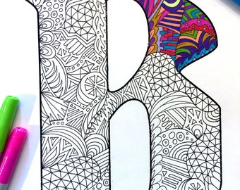 "Letter B Zentangle - Inspired by the font ""Deutsch Gothic"""