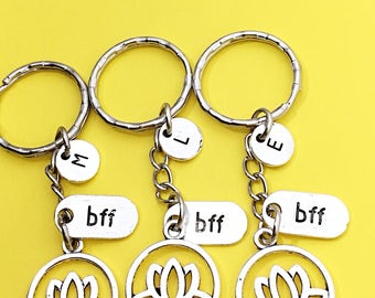 Lotus Keychain - set of 3, Keychain Gift, BFF Keychain for 3, Lotus Jewelry, Personalized Custom Keychain, Flower Keychain, Gift for Friend