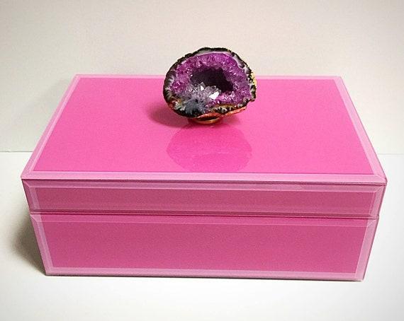 Geode Decor pink crystal geode jewelry box geode box pink box pink
