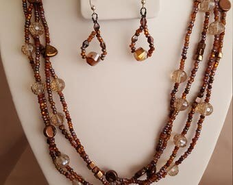 Czech Glass and Seed Bead Multi Strand Necklace
