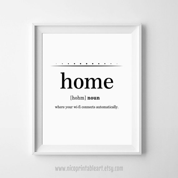 Home Definition Print Dictionary Art Funny Wall Decor Funny
