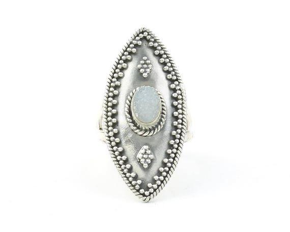 Silver Snow Ring, Sterling Silver Quartz Drusy Ring, Shield, Druzy, Statement Piece, Gemstone Jewelry, Boho, Gypsy, Hippie, Spiritual