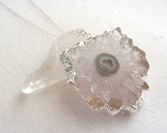 Transparent Stalactite Slice Necklace Sterling Silver Chain Crystal Quartz Agate Pendant Free Shipping Jewelry