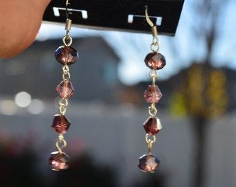 Earrings, handmade purple glass beaded fishook earrings