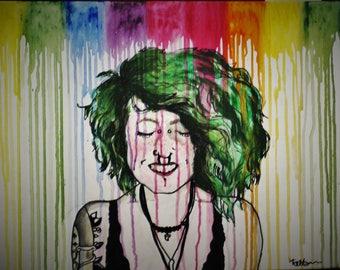original rainbow dripping self portrait
