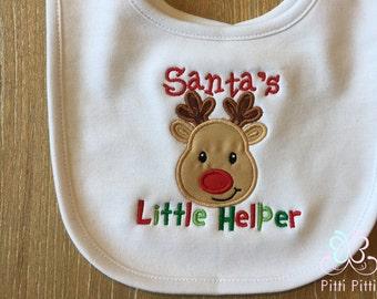 Santa's Little Helper -  Bodysuit, Shirt, Bib or Burp Cloth -   Baby Christmas Little Helper - Baby Reindeer