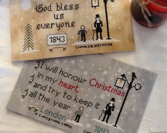 Pattern, Charles Dickens  Set, Quotes,  I will honor Christmas,  A Christmas Carol, Cross stitch pattern, God bless us everyone, Crosstitch