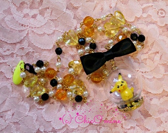 Pokemon RARE 90's Pikachu Figure Miniature Glass Snow Globe Necklace- Goth, Gamer Gear, Kawaii
