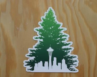 Seattle Skyline w/ Space Needle NW Evergreen Tree Custom Die Cut Vinyl Decal Sticker --- WA pnw space needle city northwest washington 206