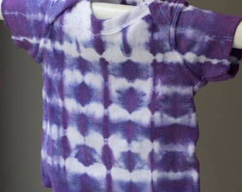 6 Month: Shibori Baby T-shirt, Purple, tie-dyed baby tee, baby shower gift, violet, lavender